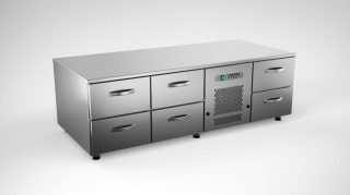 Cold grillcounter w. 6 drawers