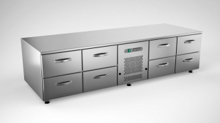 Cold grillcounter w. 8 drawers