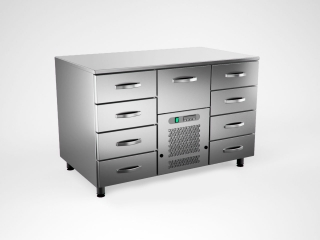 Cold counter w. 9 drawers