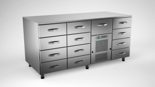 Cold counter w. 13 drawers